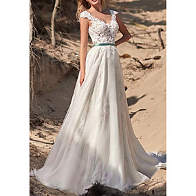 cheap New Arrivals-A-Line V Neck Sweep / Brush Train Polyester Regular Straps Made-To-Measure Wedding Dresses with Appliques 2020
