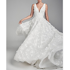cheap Wedding Dresses-A-Line V Neck Court Train Chiffon / Tulle Regular Straps Wedding Dresses with Draping / Appliques 2020
