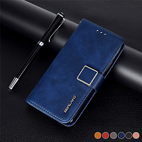 Недорогие Чехлы и кейсы для Galaxy Note 8-Кейс для Назначение SSamsung Galaxy S9 / S9 Plus / S8 Plus Кошелек / Бумажник для карт / Защита от удара Чехол Однотонный Кожа PU / ТПУ