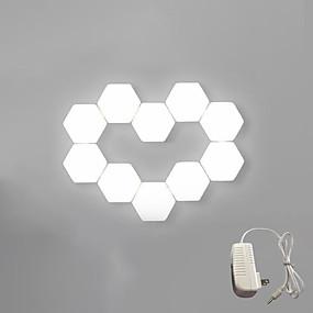 billiga Originella LED-lampor-brelong touch superljust led nattlampa diy sexkantig skarvvägglampa oss plugg 10 st
