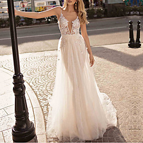 cheap Wedding Dresses-A-Line V Neck Sweep / Brush Train Lace Cap Sleeve Wedding Dresses with Beading / Lace Insert 2020