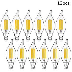povoljno LED žarulje s nitima-12pcs led žarulja e14 220v vintage edison led lampica 4w c35l e14 svijeća svijeća retro žarulja žarulje
