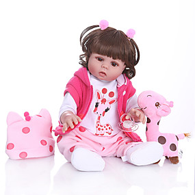 povoljno Igračke i razonoda-NPKCOLLECTION Autentične bebe Beba Za ženske bebe 20 inch Cijeli silikon tijela Silikon - Dar Slatko Umjetna implantacija Smeđe oči Dječjom Djevojčice Igračke za kućne ljubimce Poklon