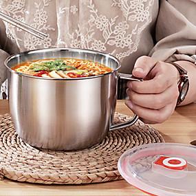 ieftine Stocare și Organizare-Vas de taitei instant din oțel inoxidabil de 1300 ml cu capac mâner anti-scalding recipient de mâncare recipient pentru supă de orez