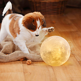 cheap LED Novelty Lights-Moon Lamp LED Night Light 3D Globe Brightness Batteries Powered Home Decorative for Baby kid New year Christmas gift wooden stand 12cm 4.7inch