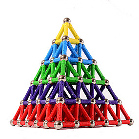 cheap Novelty Toys-84 pcs 5mm Magnet Toy Magnetic Sticks Building Blocks 3D Magnetic Blocks Educational Toy Plastic Magnet Magnetic Educational Pyramid STEAM Toy Kid's / Adults / Adults' Unisex Boys' Girls' Toy Gift
