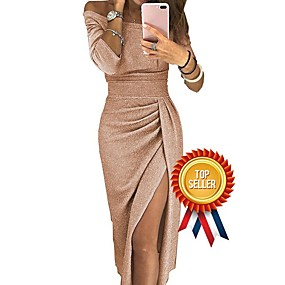 cheap Party Dresses-Women's Off Shoulder Cocktail Party New Year Going out Sexy Asymmetrical Bodycon Sheath Dress - Solid Color Pleated Patchwork Asymmetric Off Shoulder Black Blushing Pink Gold S M L XL
