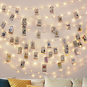 cheap Holiday & Party Decorations-2M 20LED String Lights with 12 Photo Clips Fairy Lights Outdoor Battery Operated Garland Christmas Decoration Party Wedding Xmas