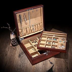 זול קופסת תכשיטים ותצוגה-ריבוע קופסת תכשיטים - עץ מוזהב, חום 26.5 cm 26.5 cm 10 cm / בגדי ריקוד נשים