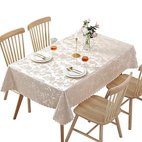 رخيصةأون شرشفات الطاولة-قماش الطاولة ألياف البوليستر مقاوم للماء كلاسيكي هندسي غطاء Tabel طاولة الزينة إلى مناسب للبس اليومي مربع 60*60 cm أبيض 1 pcs