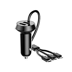 Недорогие Автомобильные зарядные устройства-автомобильное зарядное устройство 5 Вт / 3,4а 3 USB быстрая зарядка автомобильное зарядное устройство с кабелем -черный