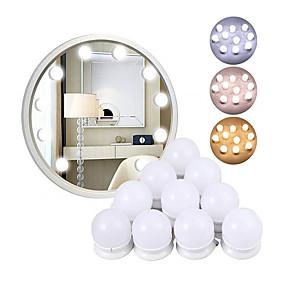 ieftine Becuri LED Glob-1 buc Bucla de perete dimmerabilă tri-culori led oglindă machiaj vanitate 10led becuri stil hollywood stil led led switch switch usb cosmetice luminate dressing dressing