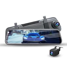 Недорогие Видеорегистраторы для авто-2k качество изображения потоковое мультимедиа двойной объектив переднего и заднего ночного видения обратное изображение автомобильный видеорегистратор 170 градусов широкоугольный cmos 10-дюймовый