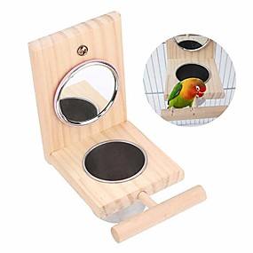 cheap Bird Accessories-Bird Feeder Parrot Perches Toys Mirror Stand Stainless Steel Food Bowl Cup Cage Accessories Fun Play for Canaries Parakeet Cockatiel Conure Cockatoo Lovebirds