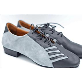 povoljno Cipele za ples-Muškarci Moderna obuća PU Štikle Debela peta Plesne cipele Svjetlo-siva