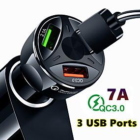 Недорогие Автомобильные зарядные устройства-быстрая зарядка qc3.0 автомобильное зарядное устройство 3 порта usb автомобильный адаптер прикуривателя для iphone samsung huawei xiaomi qc автомобильный телефон зарядки