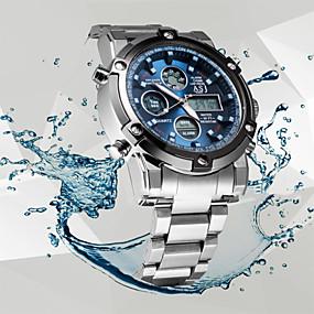 Недорогие Фирменные часы-ASJ Муж. Спортивные часы Наручные часы электронные часы Кварцевый Мода Защита от влаги Аналого-цифровые Белый Черный Синий / Нержавеющая сталь / Японский / Два года / Секундомер / ЖК экран