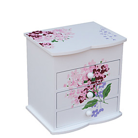 povoljno Kutija i prikaz nakita-Kvadrat Kutija za nakit - drven Bijela 16.2 cm 12.8 cm 16.8 cm