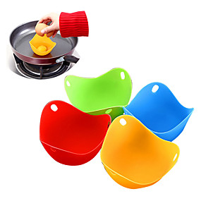 cheap Kitchen & Dining-4pcs/set Silicone Egg Poacher Poaching Pods Egg Mold Bowl Rings Cooker Boiler Kitchen Cooking Accessories Pancake Maker