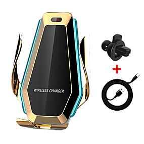 Недорогие Автомобильные зарядные устройства-P10 автоматический зажим автомобильный держатель телефона со светодиодной подсветкой 10 Вт автомобиль быстрое беспроводное зарядное устройство ци для iphone х 8 хс макс samsung s10 s9 s8