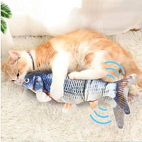 povoljno Odjeća i oprema za mačku-Igračke za žvakanje Mačja trava Plišane igrače Squeaking Toys Mačke Ljubimci Igračke za kućne ljubimce 1pc Pet Friendly Ribe Električni Pliš Pamuk Poklon
