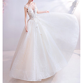 cheap Wedding Dresses-Ball Gown V Neck Floor Length Chiffon / Tulle Short Sleeve Casual Illusion Detail / Plus Size Wedding Dresses with Draping / Lace Insert / Appliques 2020