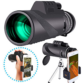 cheap Camping & Hiking Accessories-40 X 60 mm Monocular with Phone Clip and Tripod Waterproof Portable Durable Lightweight 7 m Multi-coated BAK4 Camping / Hiking Hunting Fishing / with Tripod Mount / Bird watching