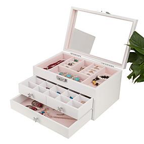 זול קופסת תכשיטים ותצוגה-ריבוע קופסת תכשיטים - עץ לבן, כחול, ורוד # # # / בגדי ריקוד נשים