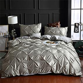 halpa Kodin tekstiilit-kuningatar / king-vuodevaatteet 3 kpl hyppysellinen laskostettu ylellinen mikrokuitun pintuck vetoketju sulkeutuva peittoastiasarja pehmeä 3kpl peittopeitesarja (1 pussilakana 2 tyynyhame)