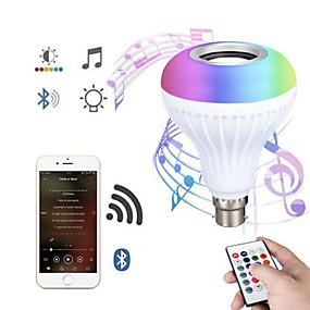 hesapli LED Akıllı Ampuler-Bluetooth ampul hoparlör 12 w akıllı led müzik çalma ampul e27 e26 b22 basecolorfulwireless rgb led ampuller 24 tuşları ile uzaktan kumanda bar dekorasyon için ev ktv parti restoran