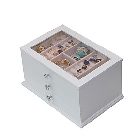 povoljno Kutija i prikaz nakita-Kvadrat Kutija za nakit - drven Bijela, Plava, Roza # # # / Žene