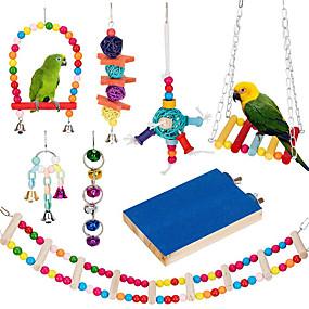 preiswerte Accessoires für Vögel-8 Packungen Vogelschaukel Kauspielzeug - Papagei Hängematte Glocke Spielzeug für kleine Sittiche geeignet Nymphensittiche Conures Finchesbudgiemacaws Papageien lieben Vögel