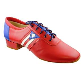 baratos Sapatos de Dança-Homens Sapatos de Dança Moderna Couro Ecológico Salto Sem Salto Sapatos de Dança Vermelho