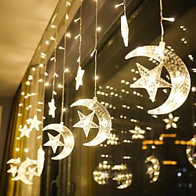 povoljno LED svjetla u traci-1pcs mjesečeve zvijezde zavjese svjetiljke led lampica string božićna svjetla ukras praznična svjetla zavjesa svjetiljka vjenčanje neonska lampiona vila svjetlost