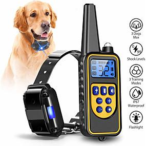 preiswerte Haustierzubehör-Hunde Halsbänder Training Anti Bark Elektrisch LCD Fernbedienung Vibration Klassisch Metalic Kunststoff Schwarz