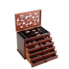 זול קופסת תכשיטים ותצוגה-ריבוע קופסת תכשיטים - עץ לבן, חום 30.6 cm 20.6 cm 24.7 cm / בגדי ריקוד נשים