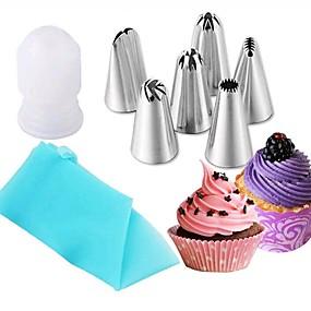 baratos Cozinha & Jantar-O bolo 8pcs molda o cozimento de aço inoxidável, ferramentas da pastelaria