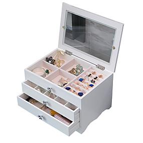 cheap Jewelry Box & Display-Square Jewelry Box - Wooden White, Blue, Pink # # # / Women's