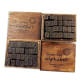 お買い得  文房具-28ピースセットアンティーク木製アルファベット番号スタンプシール大文字小文字ランダム
