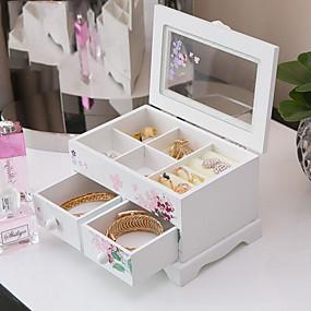 cheap Jewelry Box & Display-Square Jewelry Box - Wooden White 17 cm 12.2 cm 11.3 cm
