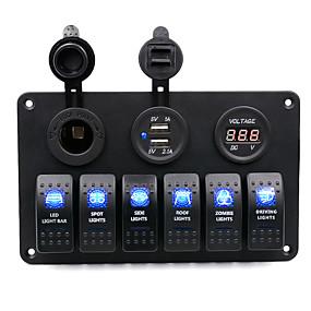 Недорогие Автомобильные зарядные устройства-dc12v / 24v автомобильный 5-контактный двойной светильник 6-позиционный переключатель прикуривателя двойной комбинированный вольтметр usb / ip65 / с защитой от перегрузки / широкий спектр применения