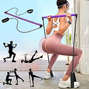 baratos Exercício e Fitness-Banda de resistência de Pilates e barra de tonificação Pilates Exercise Stick Esportes Látex Náilon Espuma Treino em casa Ioga Pilates Portátil Ajustável Removível Construtor Muscular Perda de peso