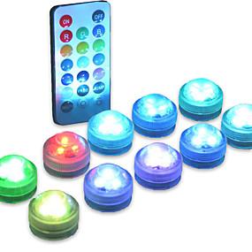 ieftine Lumini Nocturne LED-10 buc baterie impermeabilă acționată cu baterie rgb submersibilă lumina de noapte sub apă submarină lămpi lumini de ceai pentru vase boluri acvariu și petrecere decor de nuntă (conține telecomanda