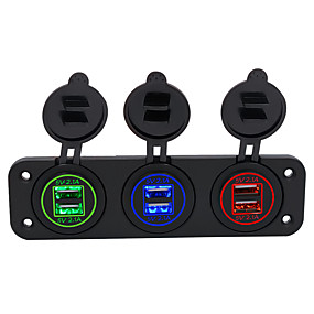 Недорогие Автомобильные зарядные устройства-Автомобильное зарядное устройство на 5 В / центральная консоль 4.2a Двойная апертура с двойной комбинацией USB красный синий зеленый / IP66 / ABS высокая и низкая температура огнестойкий огнестойкий