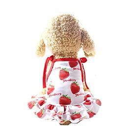 cheap Pet Supplies-Dog Dress Dog Clothes Red Costume Husky Golden Retriever Dalmatian Mesh Fruit Slogan Casual / Daily Cute XS S M L XL XXL