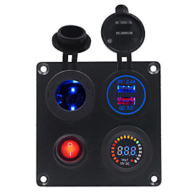 Недорогие Автомобильные зарядные устройства-dc12v / 24v 2.4a автомобильная квадратная алюминиевая пластина с независимым выключателем с держателем лампы qc3.0 комбинированная панель с вольтметром с двойным цветным экраном usb / широкий спектр
