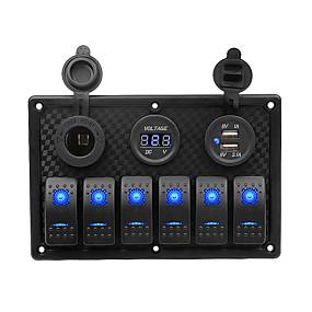 Недорогие Автомобильные зарядные устройства-автомобильное зарядное устройство dc12v / 24v / прикуриватель / 5-контактный двойной светильник, 6-позиционный переключатель, держатель для сигареты, двойная комбинированная панель usb-вольтметра /