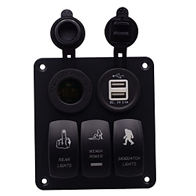 Недорогие Автомобильные зарядные устройства-автомобильное зарядное устройство dc12v / 24v 5-контактный двойной свет красоты дикарь шаблон 3-позиционный переключатель освещенный держатель для прикуривателя на вынос белый сердечник двойной USB /