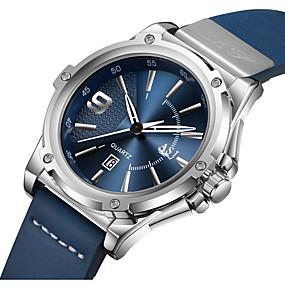 Недорогие Фирменные часы-ASJ Муж. Спортивные часы Японский кварц На каждый день Защита от влаги Натуральная кожа Черный / Синий Аналоговый - Синий Черный / Белый Один год Срок службы батареи / Календарь / SSUO AG4