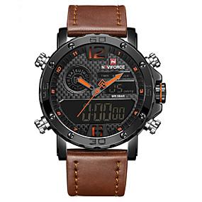 Недорогие Фирменные часы-Муж. Нарядные часы Наручные часы электронные часы Кварцевый Кожа Черный / Коричневый 30 m Защита от влаги ЖК экран Повседневные часы Аналого-цифровые Классика На каждый день Мода -